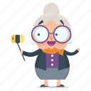 emoji, emoticon, old, selfie, sticker, woman