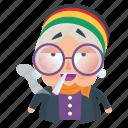 emoji, emoticon, old, smoking, sticker, woman