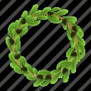 circle, floral, frame, laurel, olive, tree