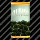 can, olives, retro, tin, tree