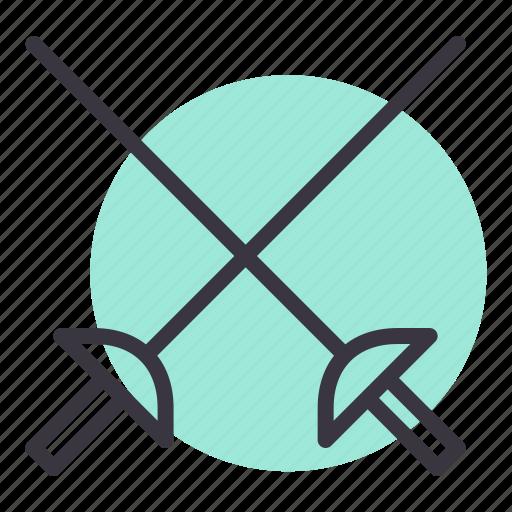 combat, cross, fencing, games, olympics, sports, swords icon