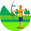 archer, archery, arrow, bow, equipment, olympic sports icon
