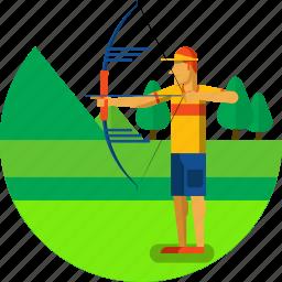 archer, archery, arrow, bow, equipment, olympic sports, sports icon icon