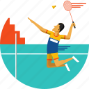 badminton, badminton player, cock, racket, racquet, shuttle, shuttle cock icon icon