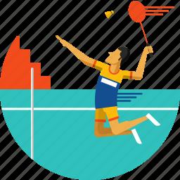 badminton, badminton player, cock, racket, racquet, shuttle, shuttle cock icon icon