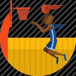 ball, basket, basketball, olympic sport, player, stadium icon