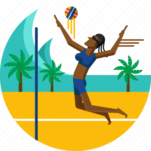 ball, beach, female team, olympic sports, palm trees, player, volleyball icon icon
