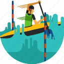 boat, canoe, paddle, paddling, river, slalom, water icon icon