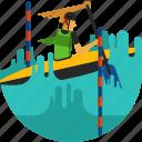 boat, canoe, paddle, paddling, river, slalom, water icon