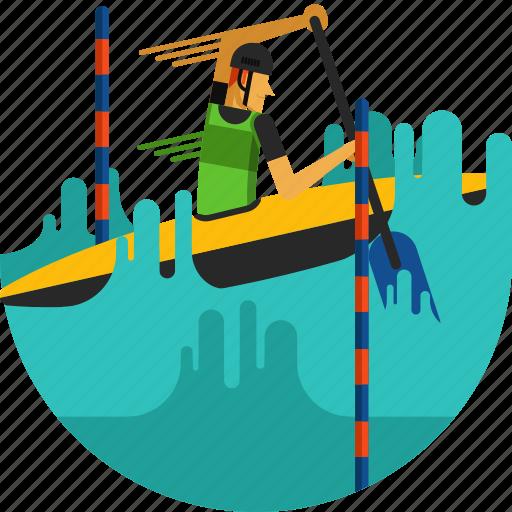 boat, canoe, paddle, paddling, river, slalom, water icon icon