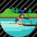 boat, canoe, canoeing, paddle, paddling, sprint icon icon