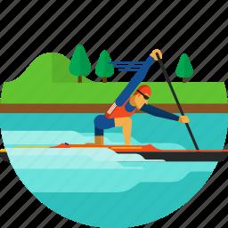 boat, canoe, canoeing, paddle, paddling, sprint icon