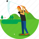ball, court, flag, golf, golfer, jard, sports icon icon