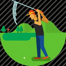 ball, court, flag, golf, golfer, jard, sports icon icon
