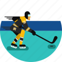 hockey, hockey stick, ice, ice hockey, skates, sports icon, stadium icon