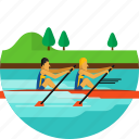 boat, paddle, paddling, river, rowing, sports, water icon icon