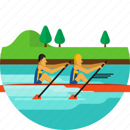 boat, olympic sport, paddle, paddling, river, rowing, water icon icon