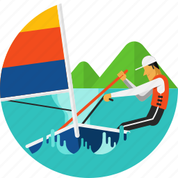 boat, olympic sports, sailing, sailing boat, ship, sports, water icon icon