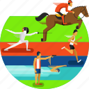 athletics, equestrian, fencing, pentathalon, running, shooting, sports, swimming icon icon