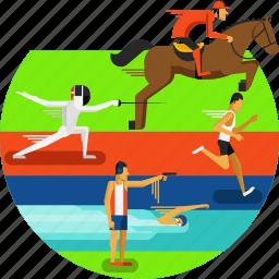 athletics, equestrian, fencing, pentathalon, running, shooting, sports, swimming icon icon