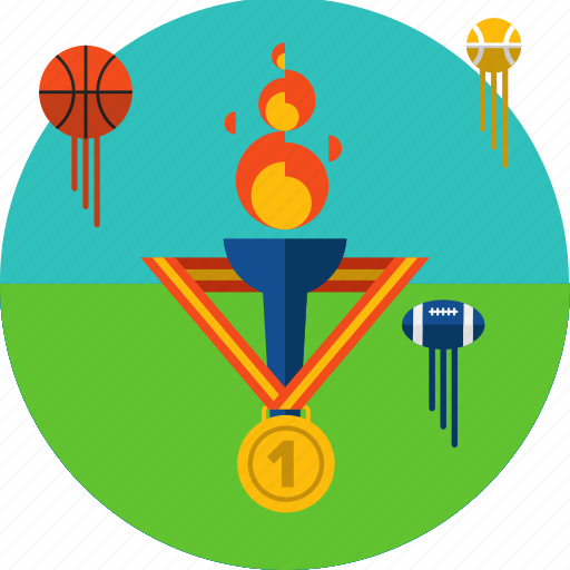 flame, games symbols, medal, olympic, olympic games, sports, torch icon icon