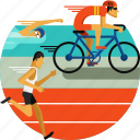 athletics, cycling, olympic sports, running, sports icon, swimming, triathlon icon
