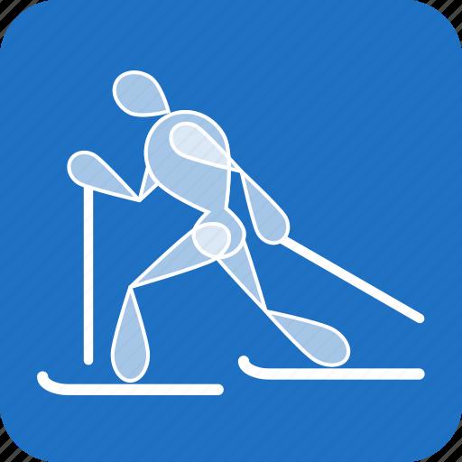 cross-country, olympics, ski, skiing, sports, winter icon
