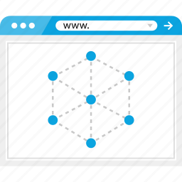 brower, connect, cube, internert, wireframe icon