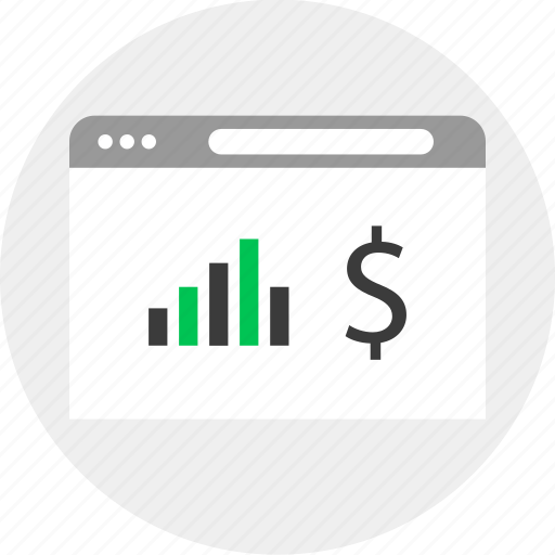 business, dollar, money, online, results icon