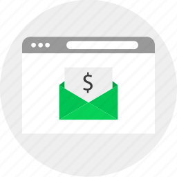 browser, business, email, mail, money icon
