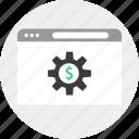browser, business, gear, money