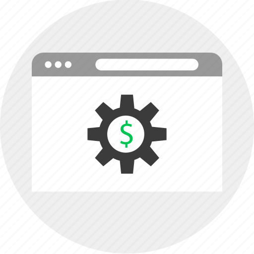 browser, business, gear, money icon