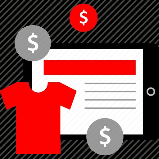 buying, experience, ipad, tee icon