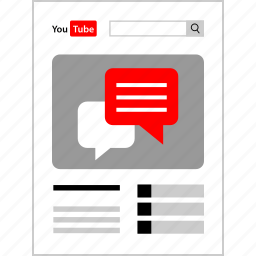 chat, comment, page, youtube icon