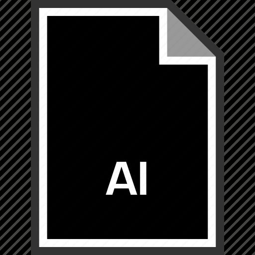 ai file, extension, sleek icon