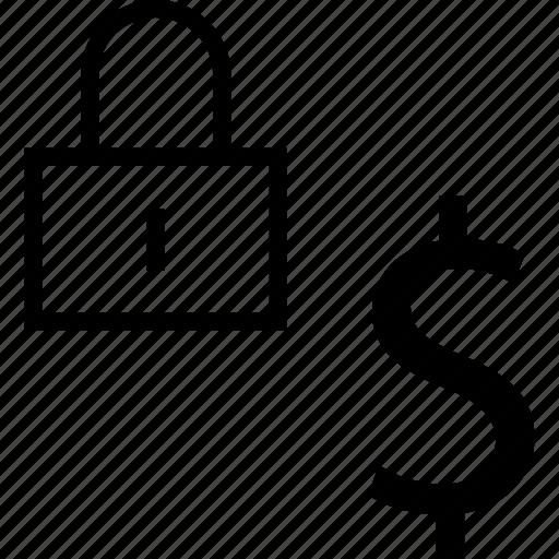 dollar, lock, safe, sign icon