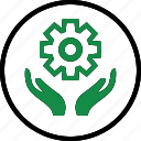 business, gear, hand, hands, options, setup icon