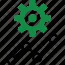 analytics, analyze, data, gear, graph, report icon
