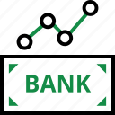 analytics, analyze, bank, banking, data, money, note icon