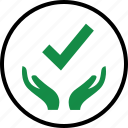 approved, check, good, hand, hands, mark, ok icon