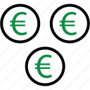 business, coin, euro, money, rich, sign, wealth icon