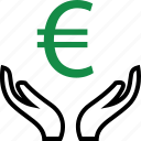 approved, euro, good, hand, hands, money, sign icon