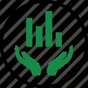 graph, hand, hands, money, online, report, web icon