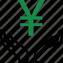 create, hand, hands, money, rich, wealth, yen icon