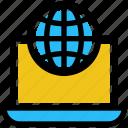 globe, laptop, notebook, office, online business, world business