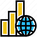 analytics, globe, online business, transaction, world icon