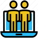 business, employees, group, laptop, notebook, online business, teamwork icon