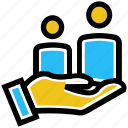 business, care, employees, hand, users icon