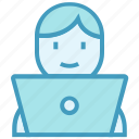 business, employee, laptop, man, office, online business, user icon
