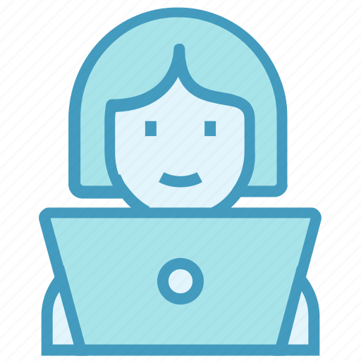 business, employee, laptop, office, online business, user, woman icon